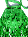Tricot Woven Leather Crossbody Hobo Drawstring Bag with Fringe