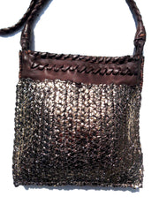 Tricot Woven Leather Square Evening Pouch