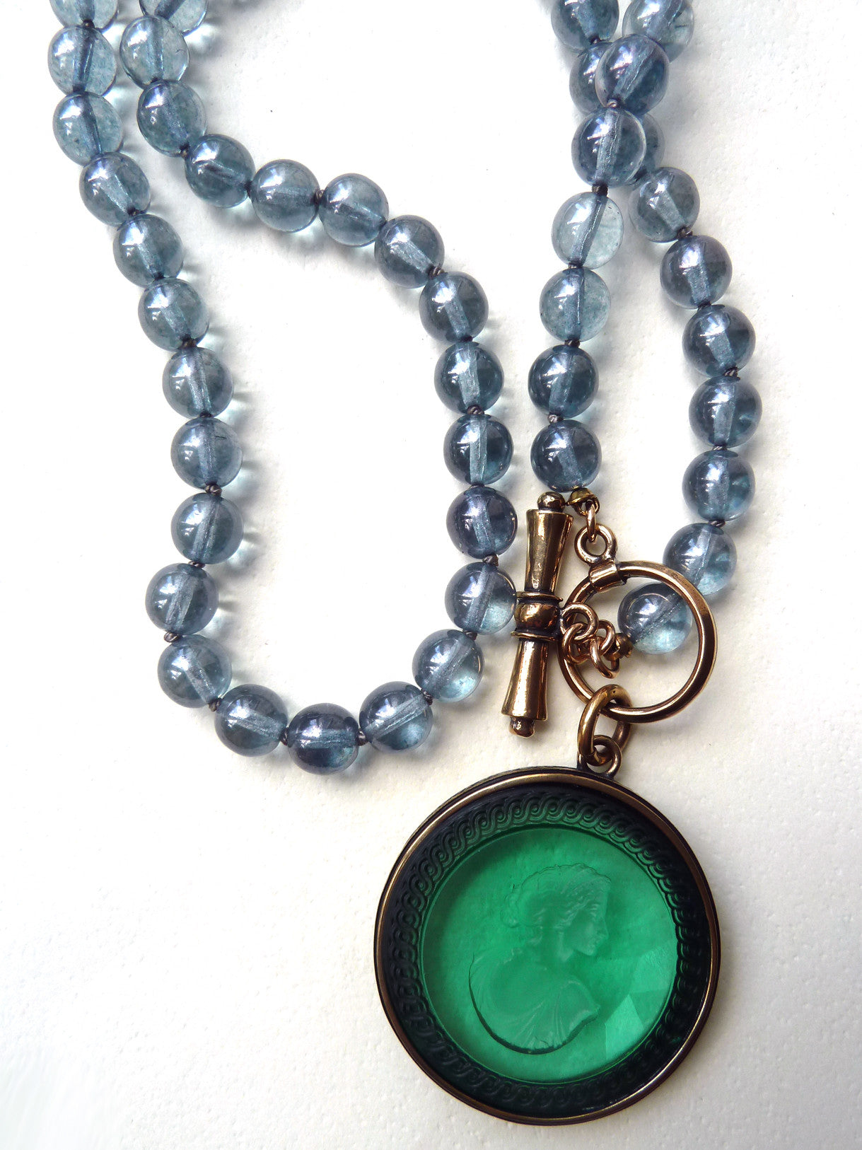 Necklace Intaglio On 30 Inch Glass Bead Periwinkle Bright Green