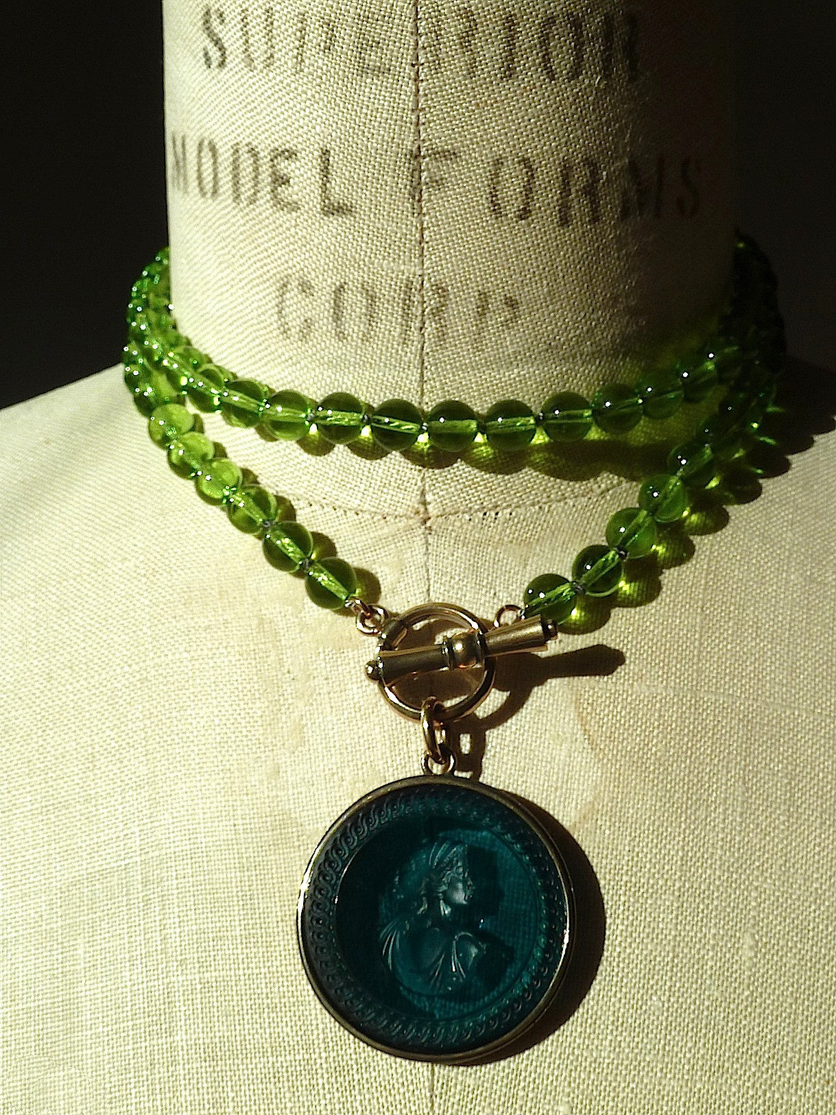 Necklace Intaglio On 30 Inch Glass Bead