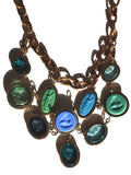 Necklace Bib Of Multi Intaglios Blues