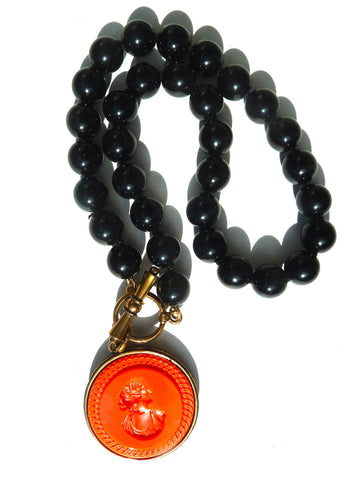 Necklace Intaglio Choker Black Coral