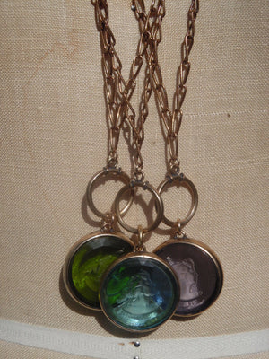 Necklace Intaglio Double Long Chain Periwinkle Aquamarine Green