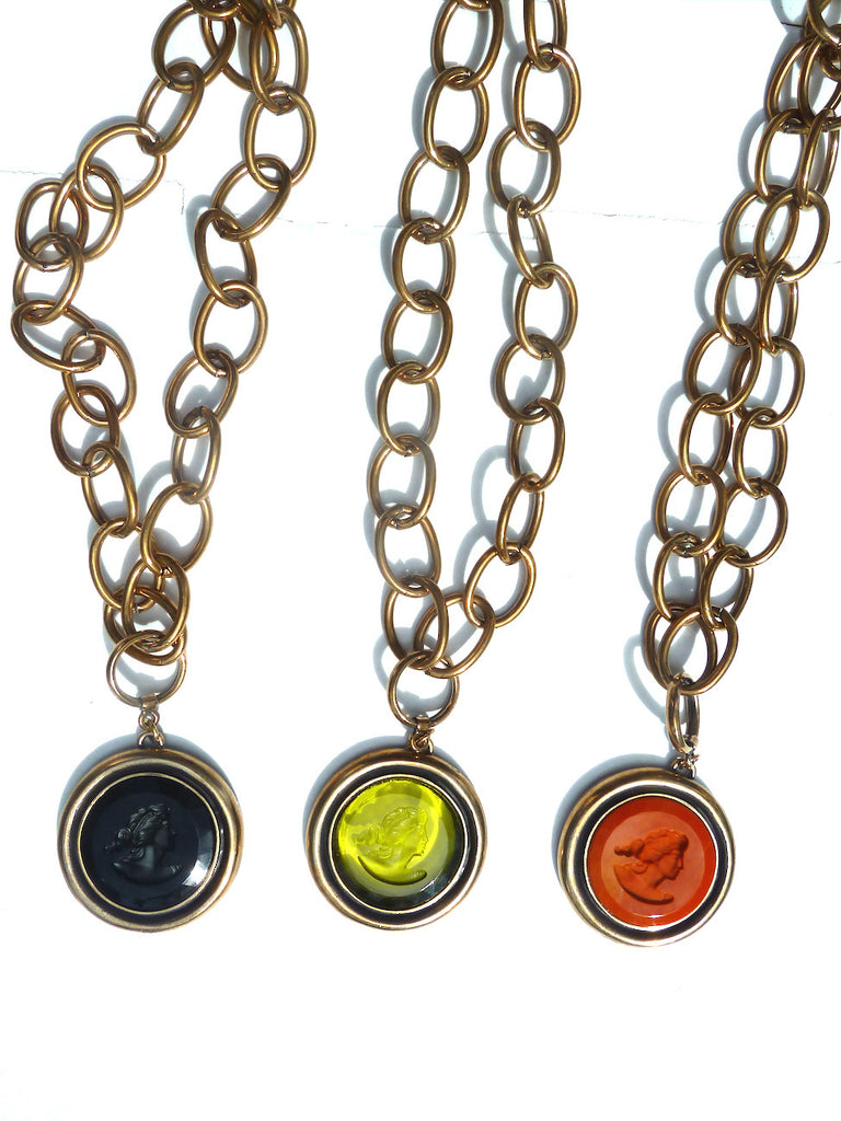Necklace Double Length Intaglio On Brass