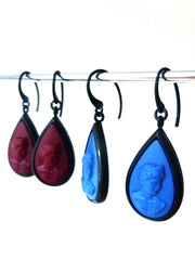 Earring Teardrop Intaglio Cameo Jet Plate Blue Or Wine