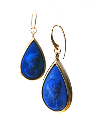 Earrings Teardrop Intaglio Cameo Black Green Blue