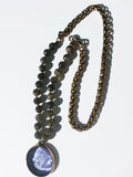 Necklace Intaglio Faceted Glass Beads and Mesh Rope Chain
