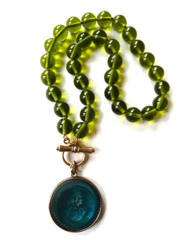 Necklace Intaglio Choker Turquoise Olive