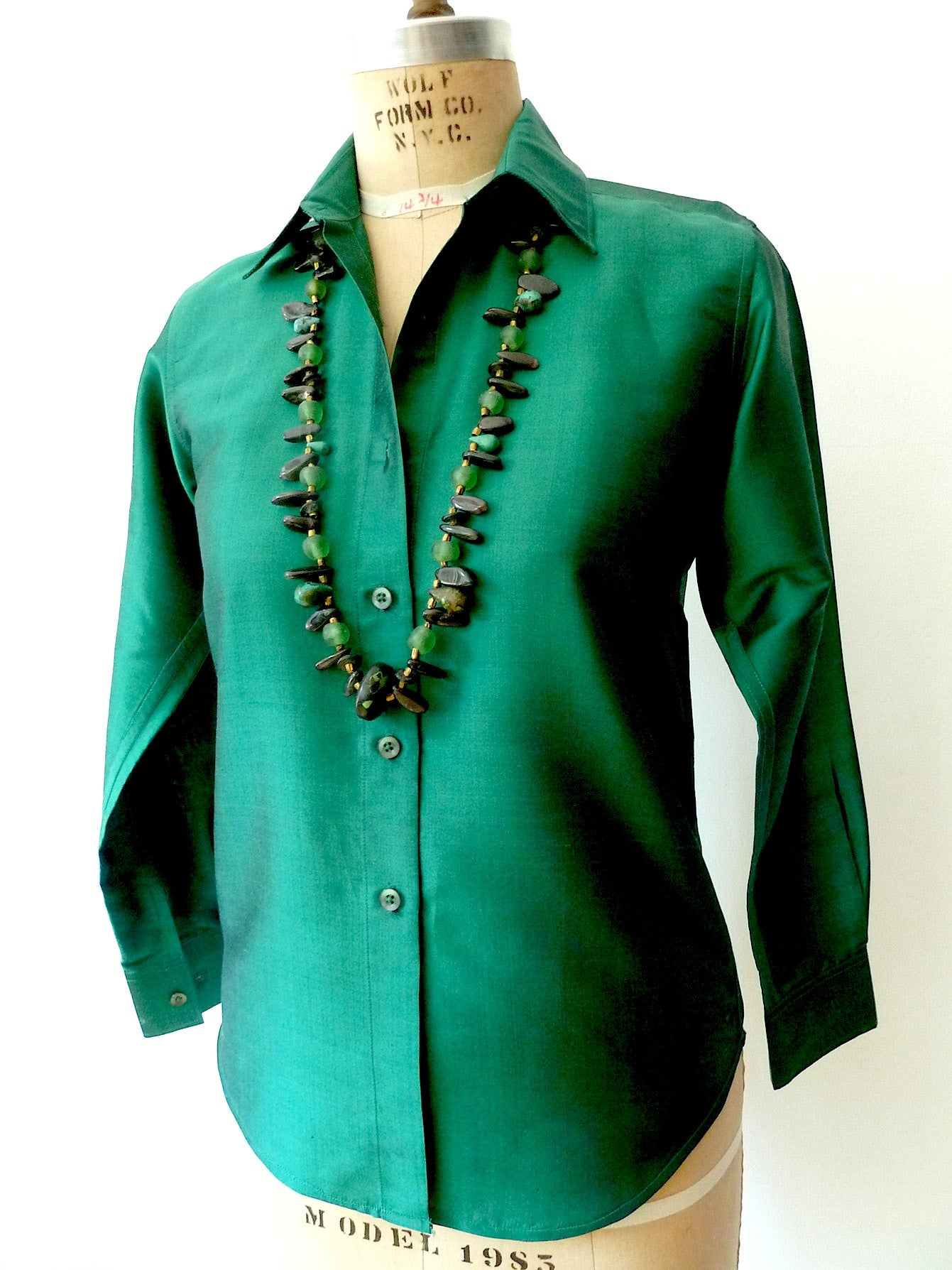 Thai Silk Button Down Shirt Basil