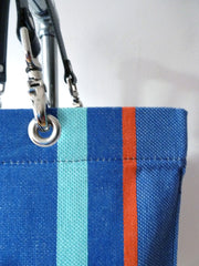 French Cotton Stripe Bags Dark Denim Color Block