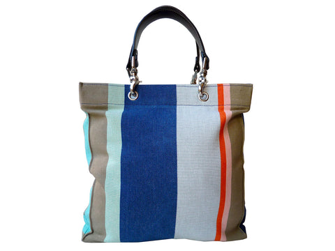 French Cotton Stripe Bags Blue White Color Block