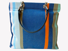 French Cotton Stripe Bags Blue Orange Color Block