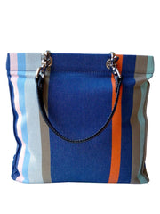 French Cotton Stripe Bags Denim Orange Color Block