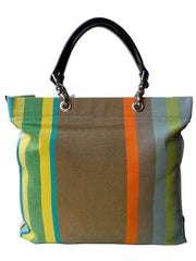 French Cotton Stripe Bags Khaki Orange Color Block