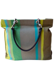 French Cotton Stripe Bags Yellow Taupe Color Block