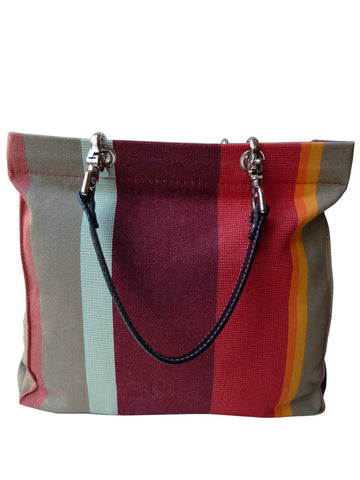 French Cotton Stripe Bags Mint Aubergine Color Block