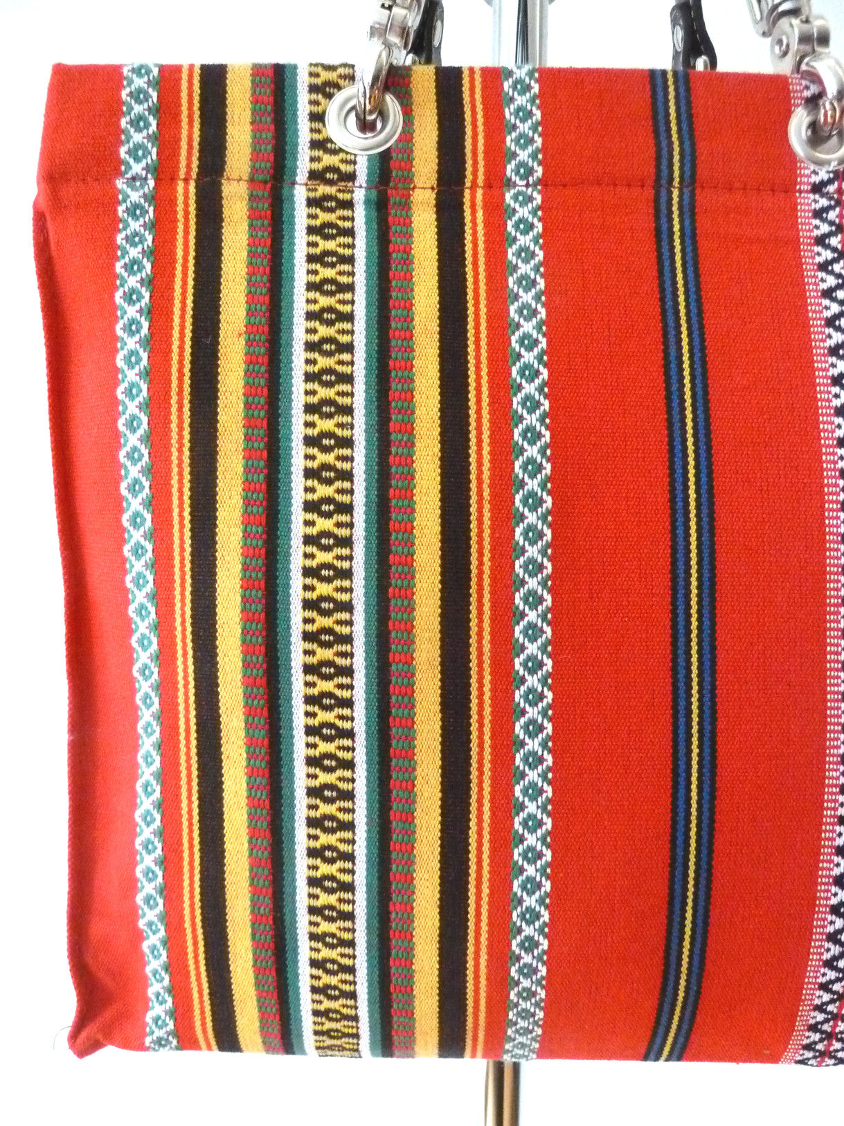 French Cotton Stripe Bags Red Black