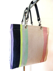 French Cotton Stripe Bags Lavender White Color Block