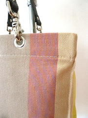 French Cotton Stripe Bags Pink Black Sand Color Block