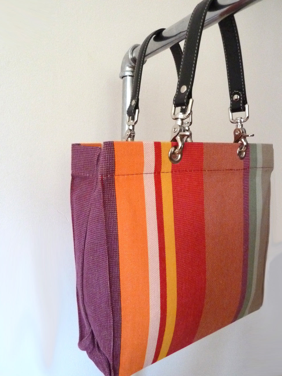 French Cotton Stripe Bags Red Olive Color Block