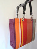 French Cotton Stripe Bags Aubergine Color Block