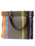 French Cotton Stripe Bags Taupe Stripe Color Block