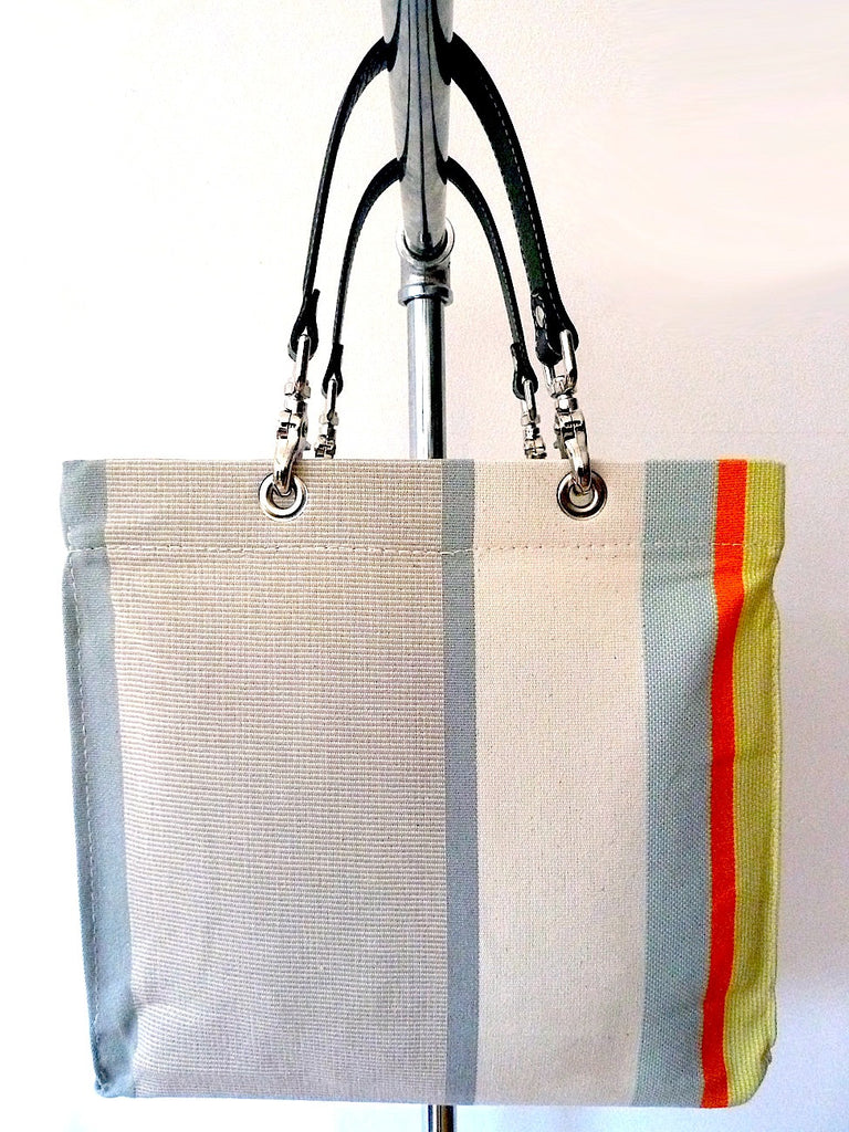French Cotton Stripe Bags White Grey Color Block