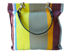 French Cotton Stripe Bags Taupe and Pink Color Block