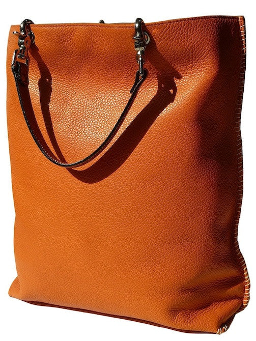 Gajumbo Tote Bag Pebble Grain Leather Orange