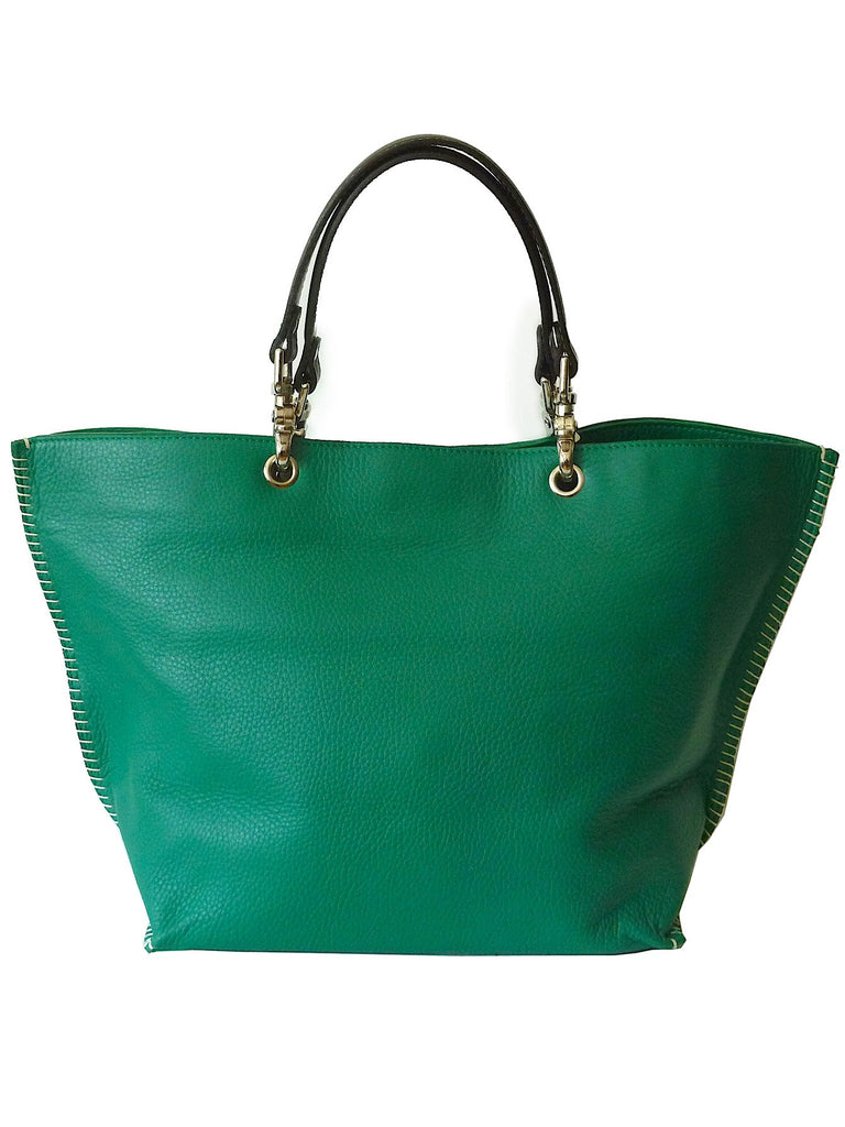 Gamidi 2 Tote In Pebble Grain Leather Emerald Green