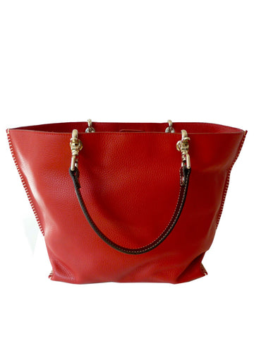 Gamidi 2 Tote In Pebble Grain Leather Red