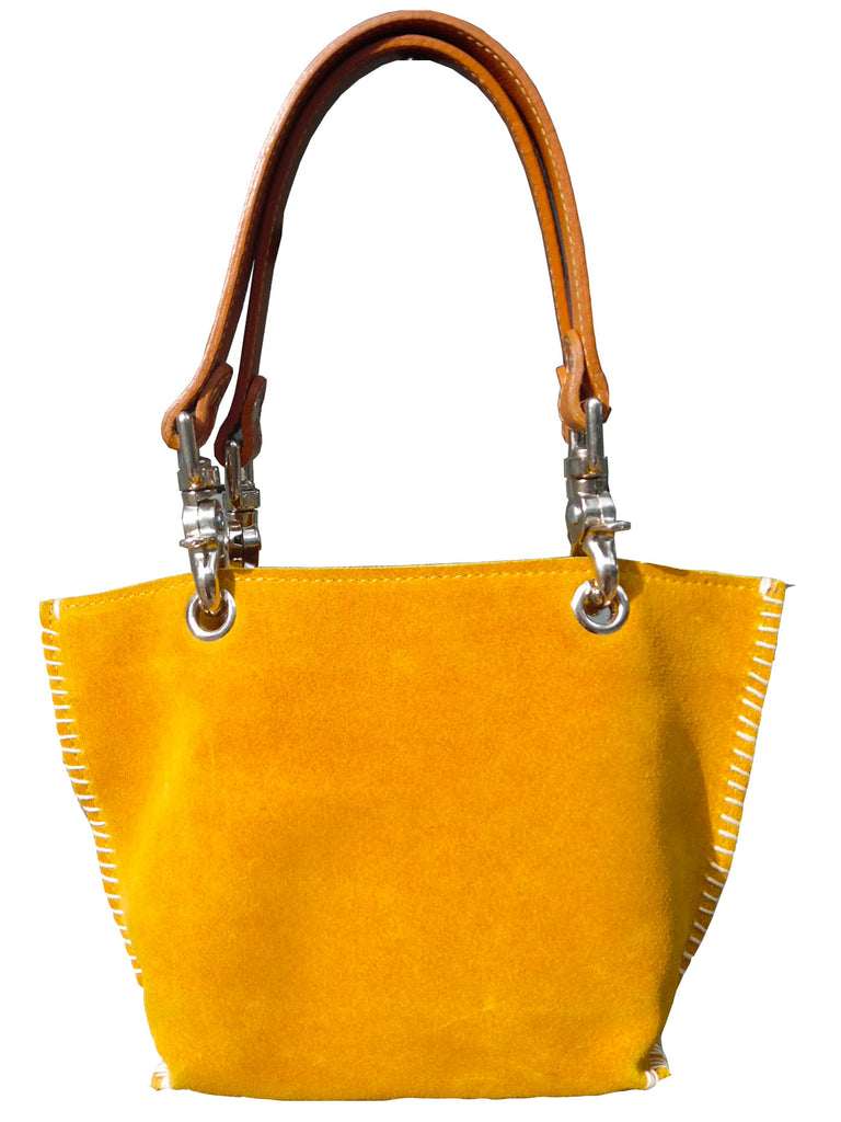 Gamini Mini Suede Bag With Topstitching Mustard