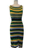 Green Gold Lt. Blue Black Tank Dress