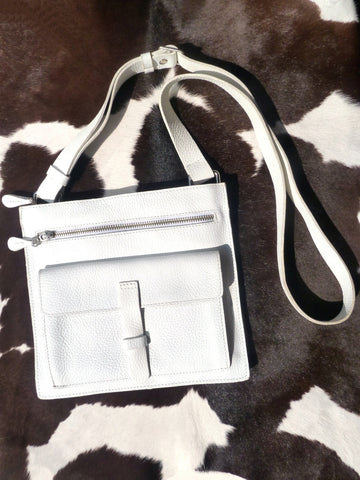 Hippie Crossbody Travel Bag White Pebble Grain Leather