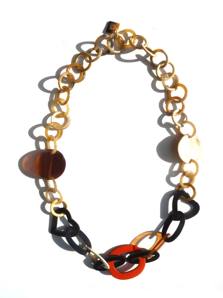 Horn Necklace Heart And Orange Lacquer