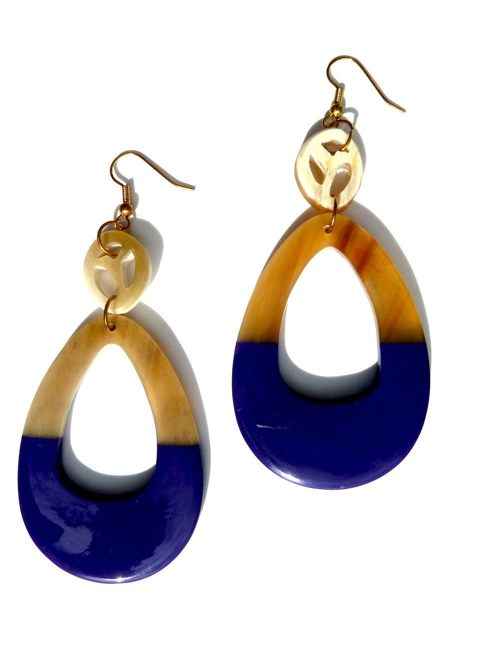 HORN EARRINGS TEARDROP AND LACQUER