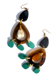 HORN EARRINGS TEARDROP TURQUOISE