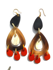 HORN EARRINGS TEARDROP ORANGE