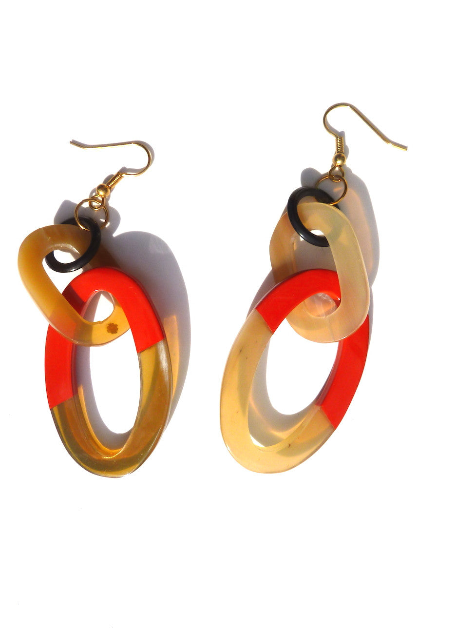 HORN EARRINGS DOUBLE OVAL WITH LACQUER