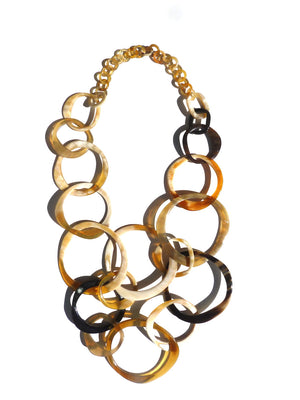 Horn Necklace Oval and Rectangle Links Black