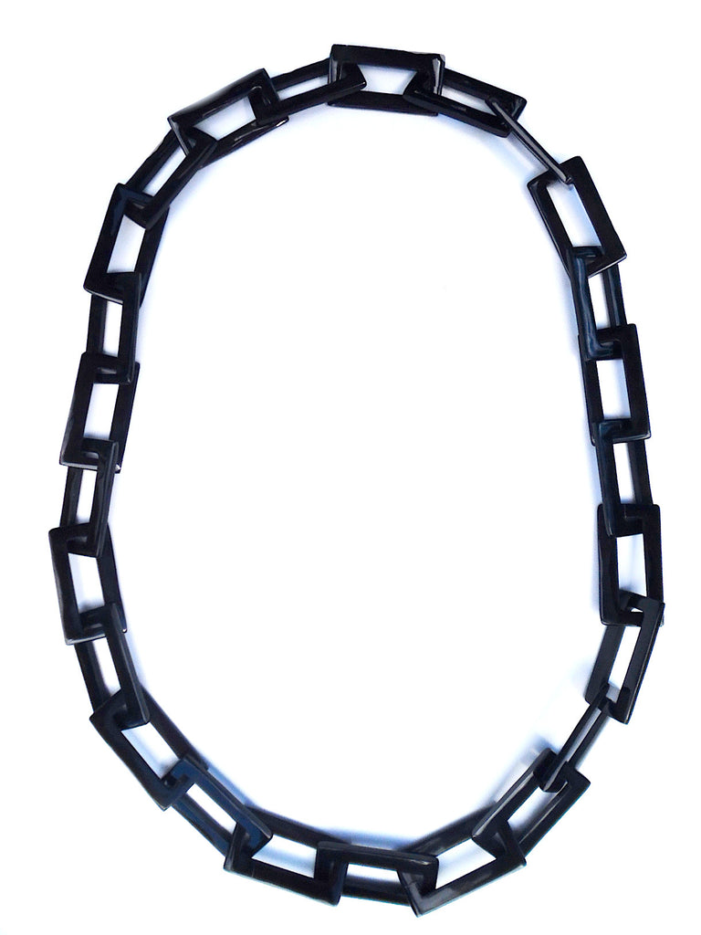 Horn Necklace Rectangle Links Black