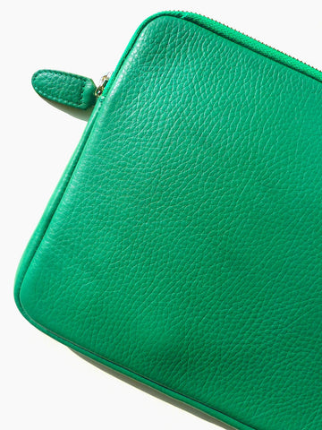 iPAD CASE PEBBLE GRAIN LEATHER EMERALD GREEN