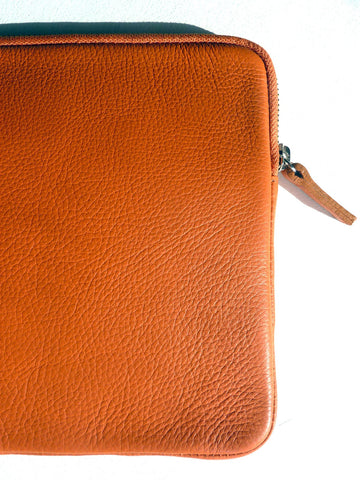 Ipad Case Pebble Grain Leather Orange