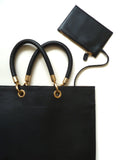 Flat Oblong Pebble Grain Leather Tote Bag Black