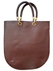 Flat Oblong Pebble Grain Leather Tote Bag Chocolate