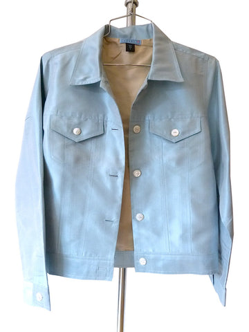 Jean Jacket Thai Silk And Mother Of Pearl Baby Blue Champagne