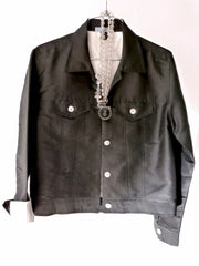 Jean Jacket Thai Silk And Mother Of Pearl Black and Ivory
