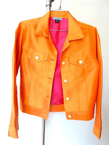 Jean Jacket Thai Silk And Mother Of Pearl Carrot Fuchsia