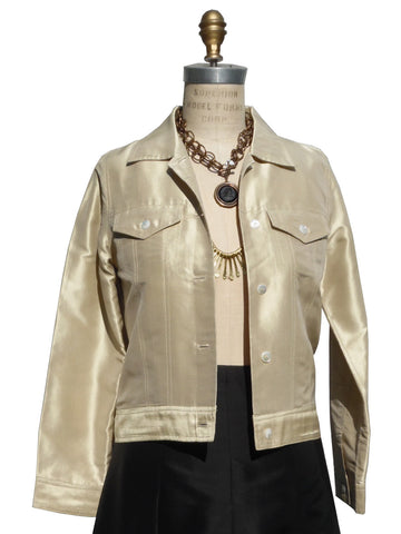 Jean Jacket Thai Silk And Mother Of Pearl Pale Gold and Oatmeal