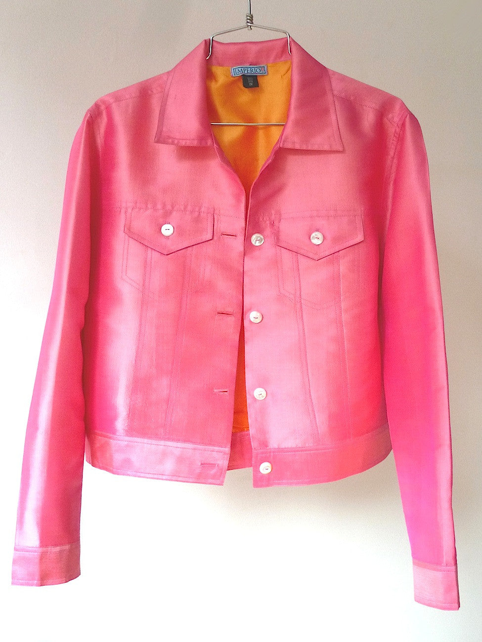 Jean Jacket Thai Silk And Mother Of Pearl Precious Pink